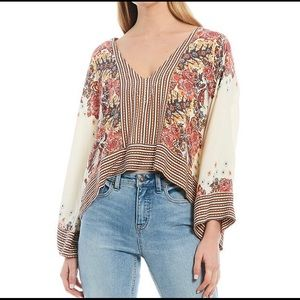 Free People Mix N Match Long Wide Sleeve Blouse